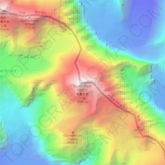 Mapa topográfico Gasherbrum I, altitud, relieve