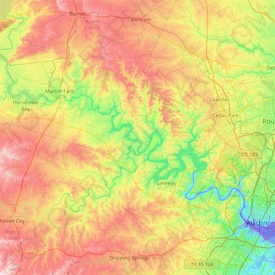Mapa topográfico Lake Travis, mapa de relieve, mapa de altitud